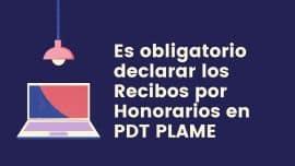 Es obligatorio declarar los Recibos por Honorarios en PDT PLAME