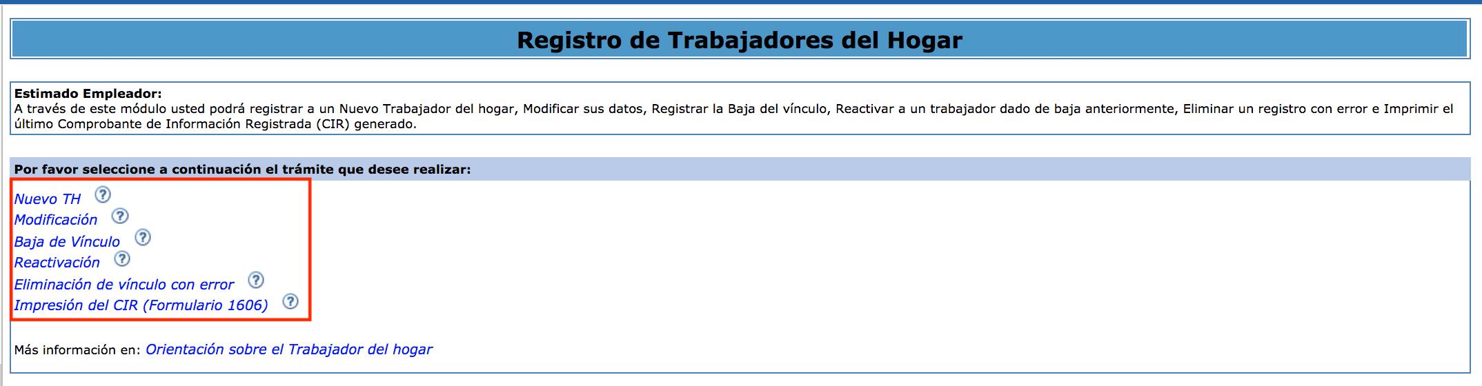 Registro de Trabajadores del Hogar
