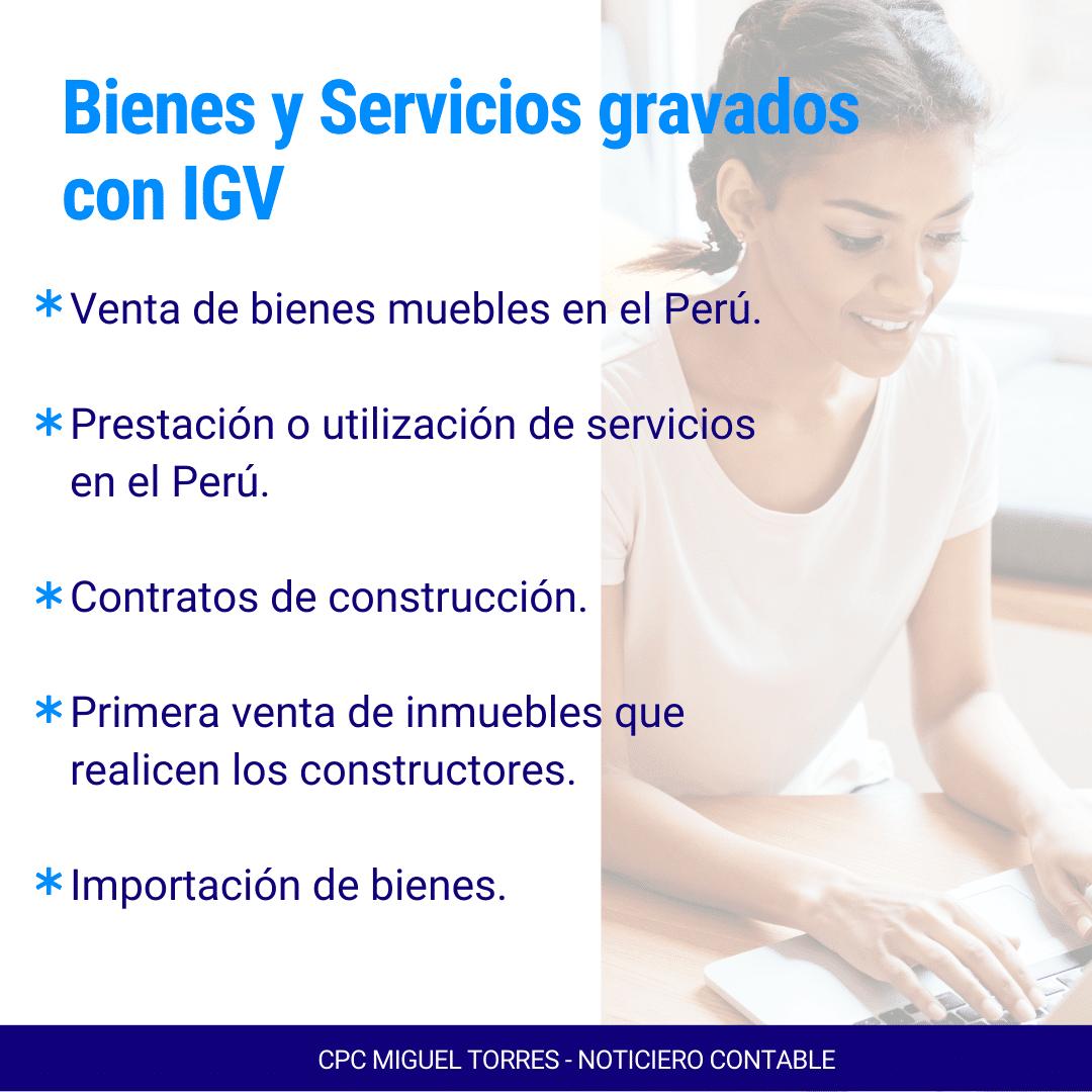 Bienes y Servicios gravados con IGV