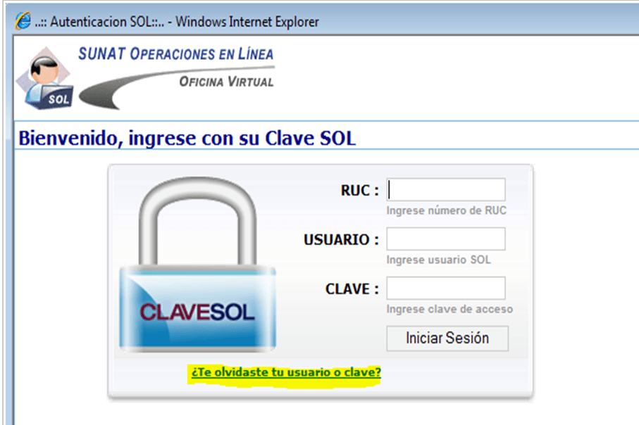sunat online Recuperación de Clave SOL desde internet