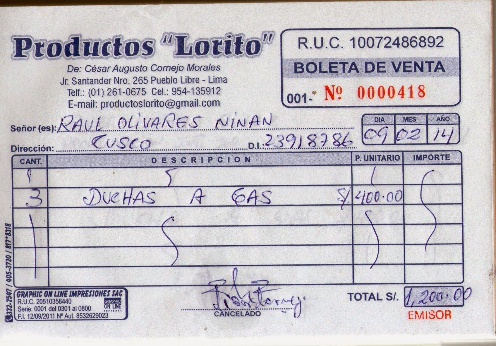 boleta de venta Las boletas de Ventas – Gasto Deducible para el Impuesto a la Renta