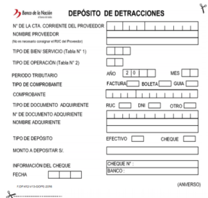 correccion de los depositos de detraccion
