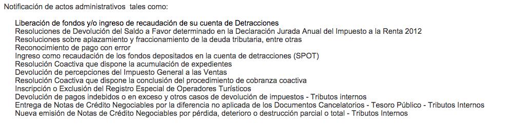 Procesos Administrativos que solo se pueden notificar por Buzón Sol