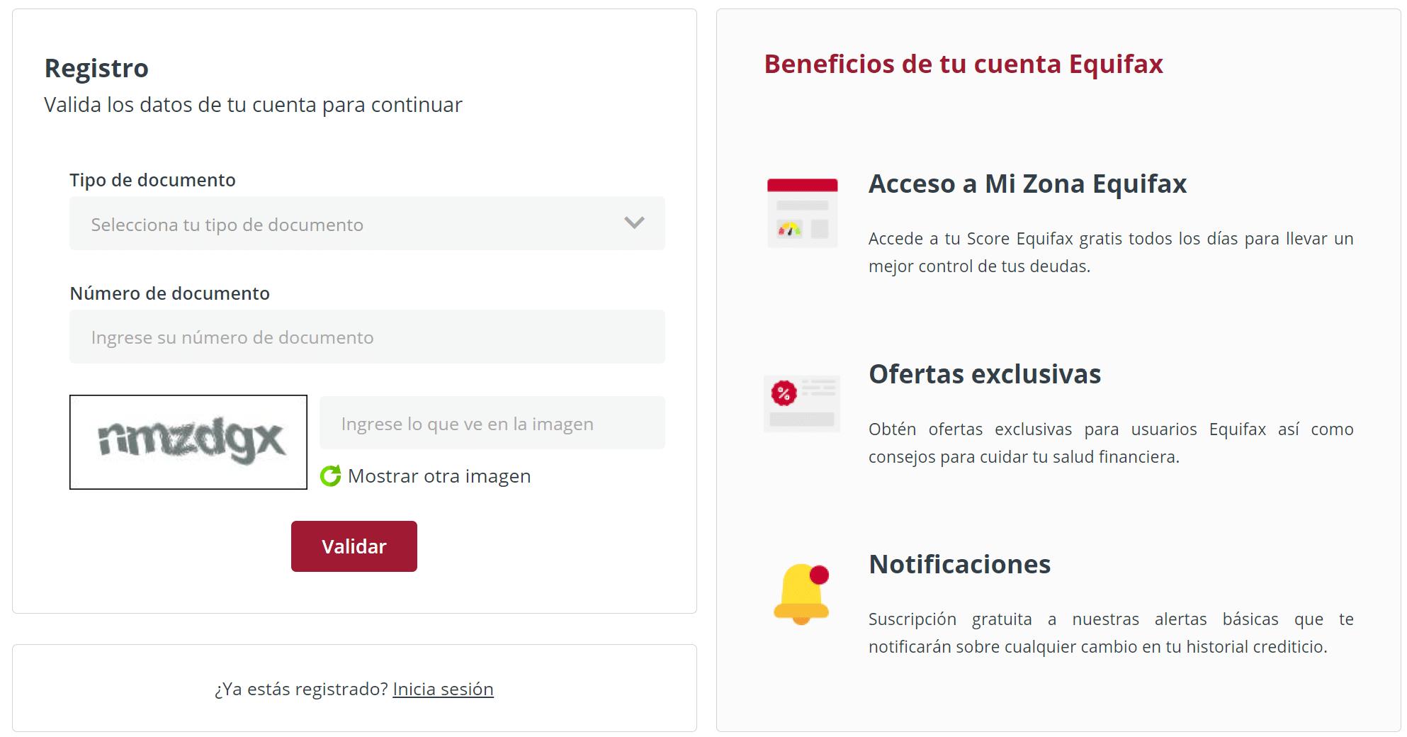 registro gratuito Equifax