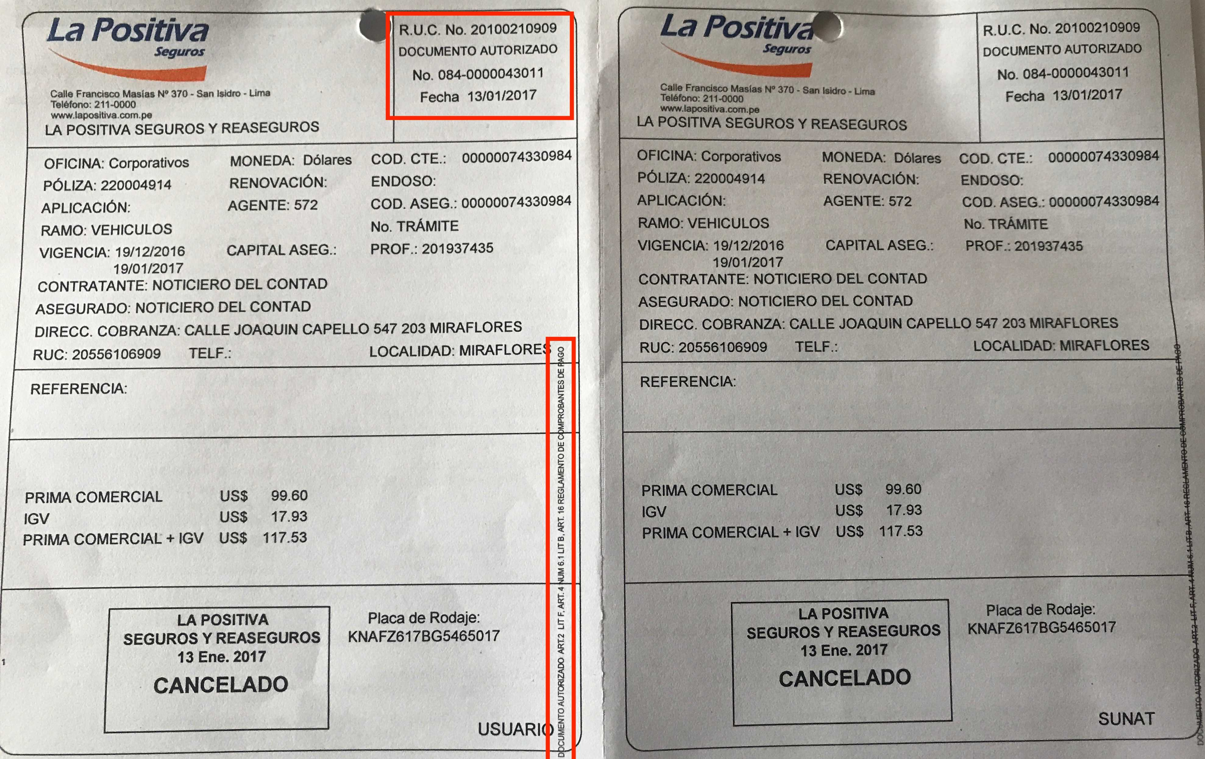 Documento Autorizado Seguros