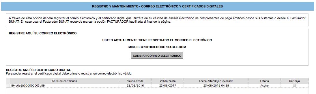 mantenimiento Certificado Digital Sunat