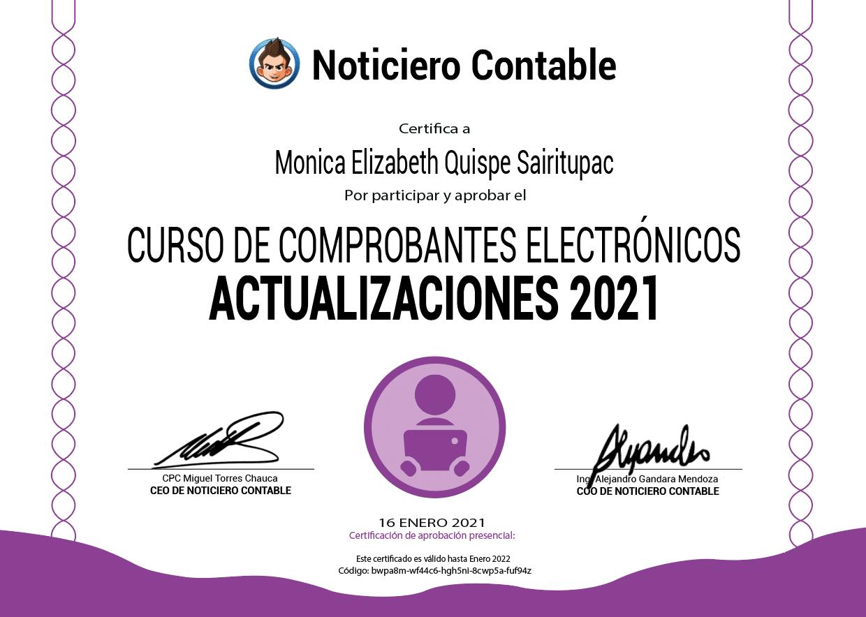 certificado comprobantes electronicos 2021