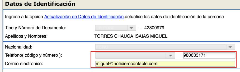 Modificacion en el T-Registro correo electronico