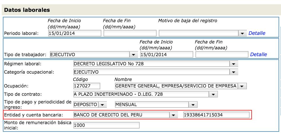 Modificacion en el T-Registro cuenta bancaria