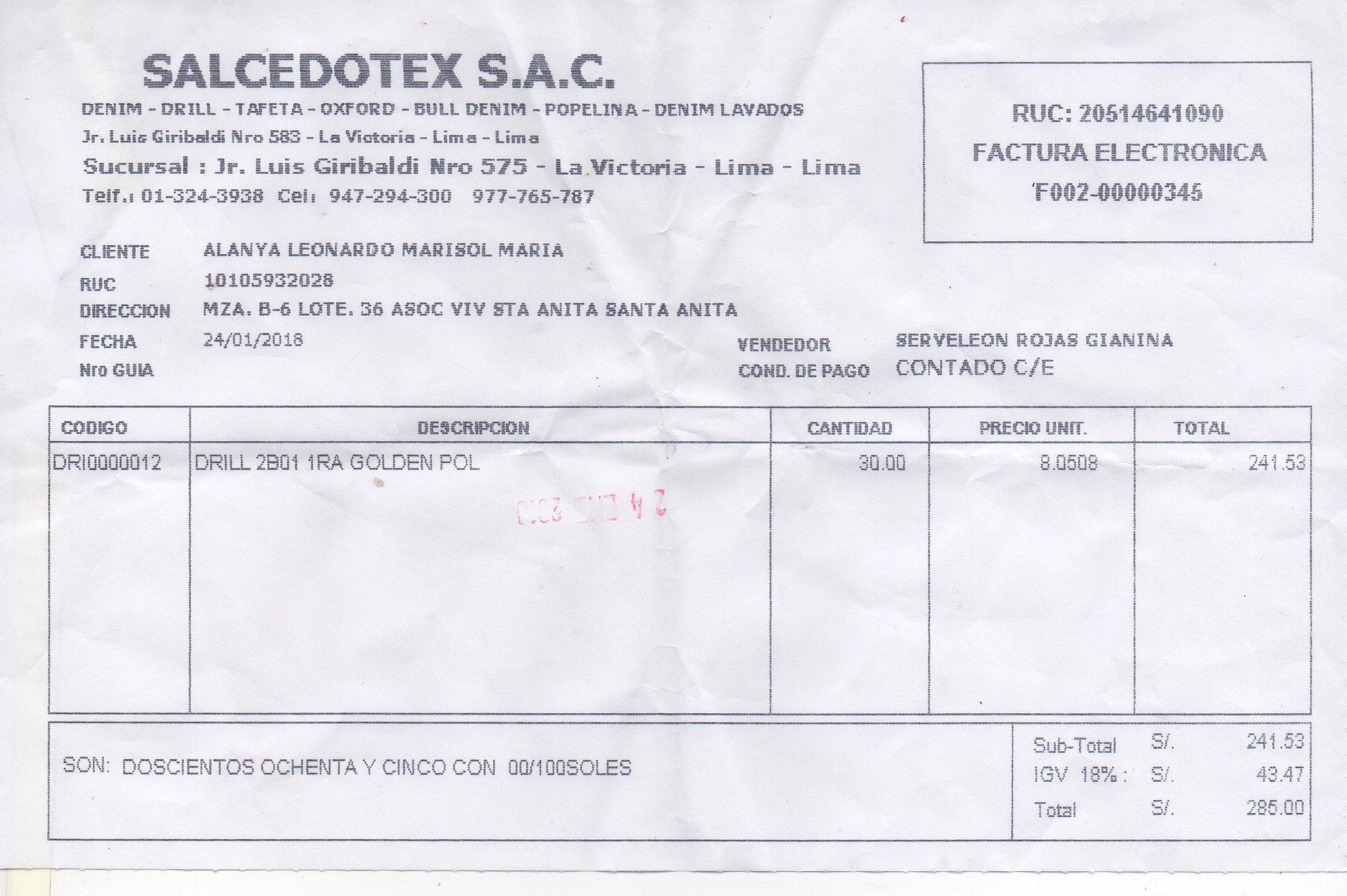 la factura electrónica no existe en los registros de sunat