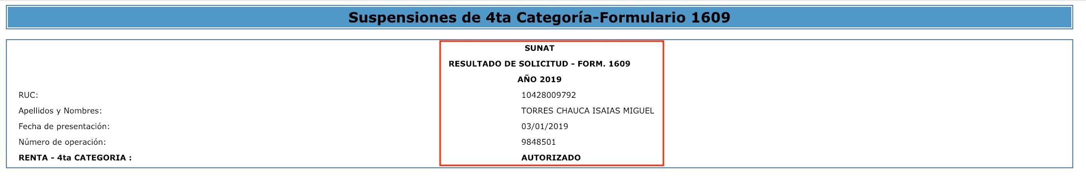 suspension de cuarta categoria aprobado 2019