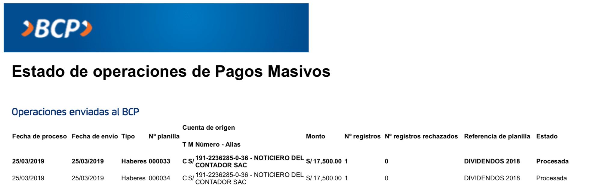 Pago de Dividendos Miguel Torres