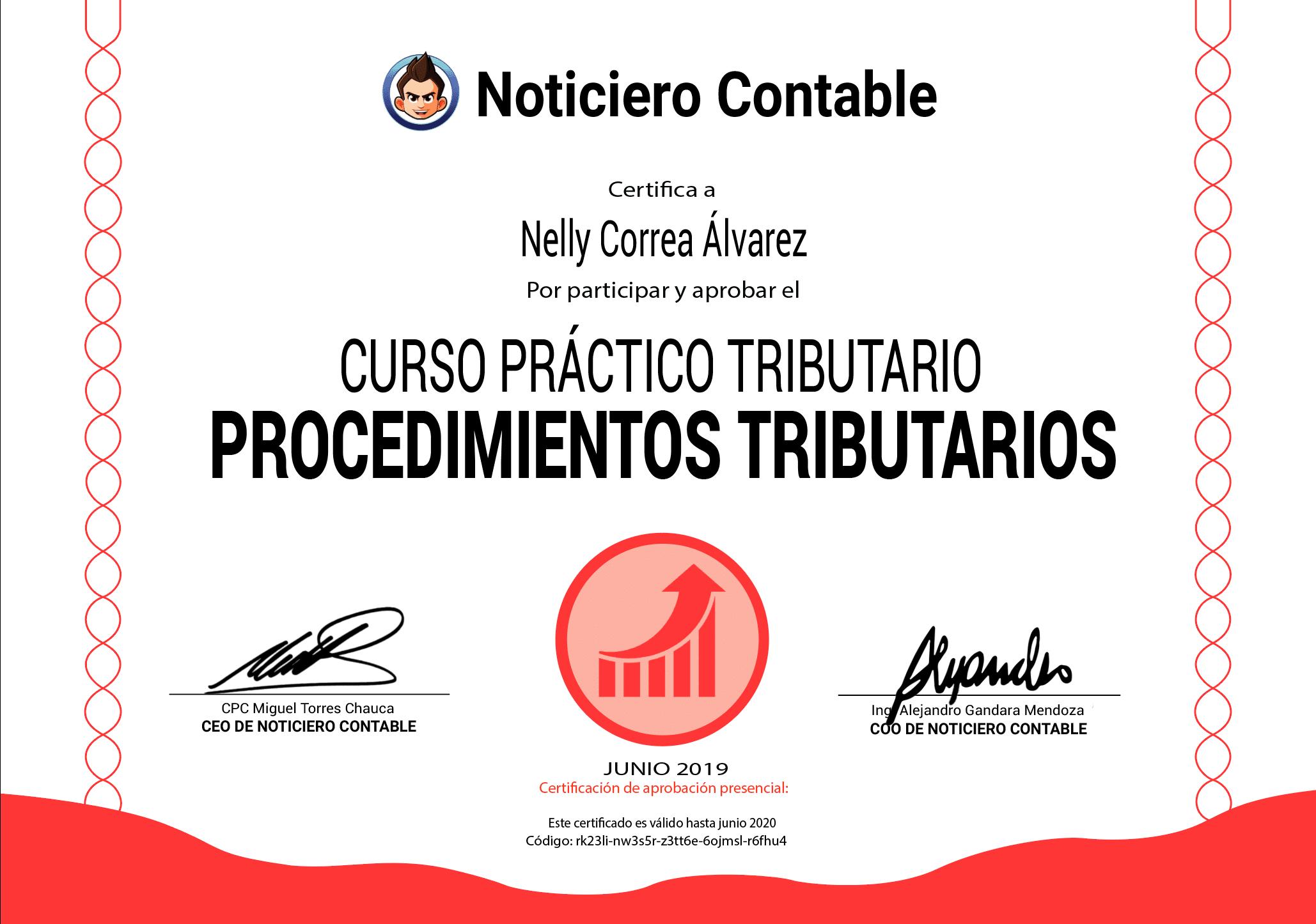 Certificado del Taller Práctico: Procedimientos Tributarios