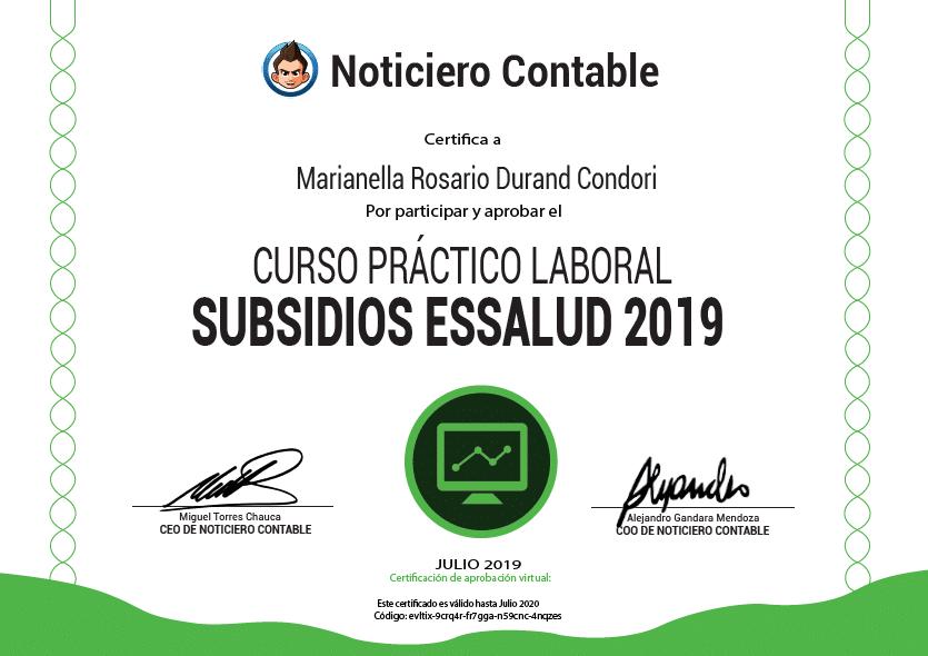 Certificado Curso Subsidios Essalud