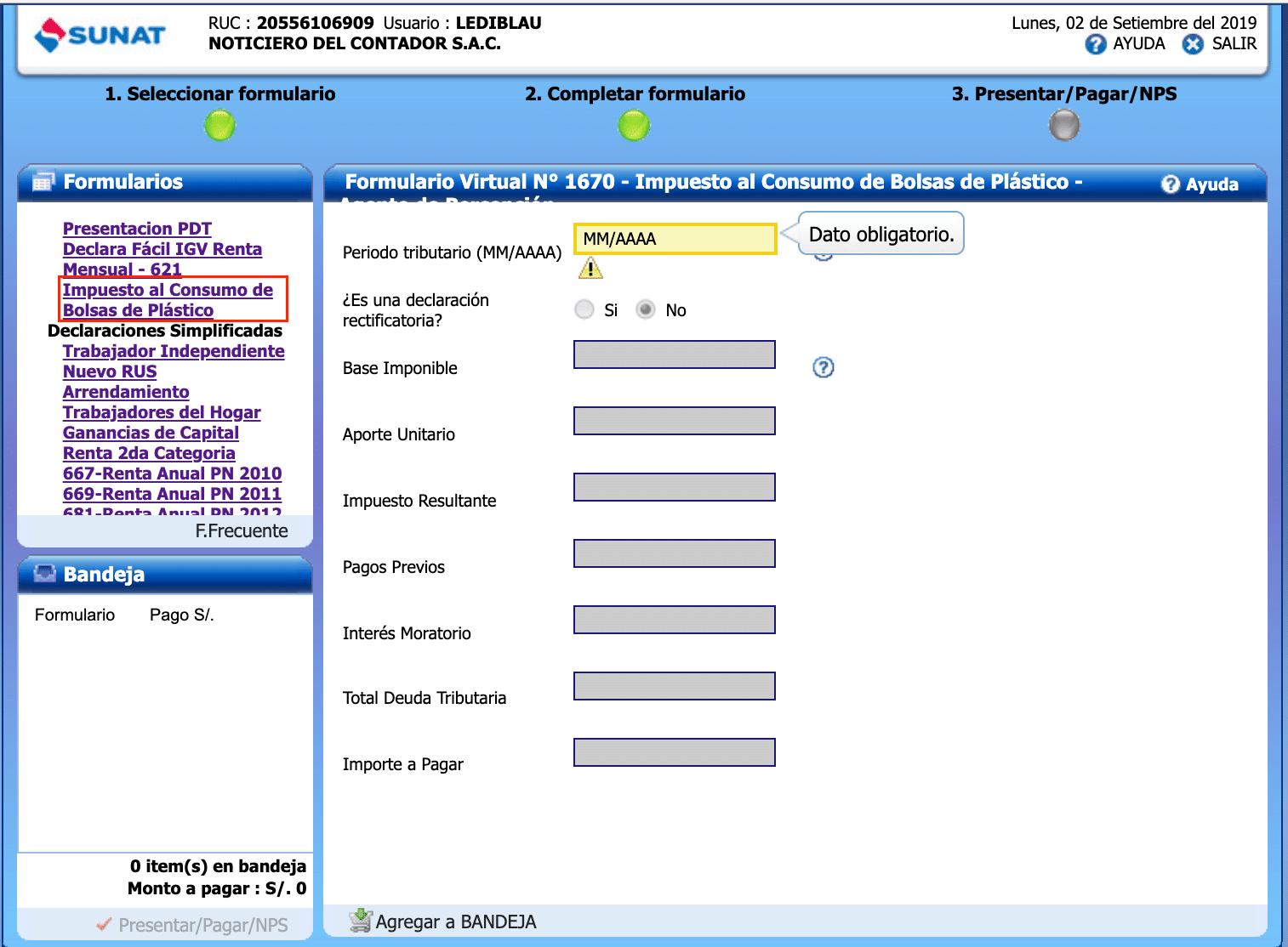 Formulario Virtual 1670