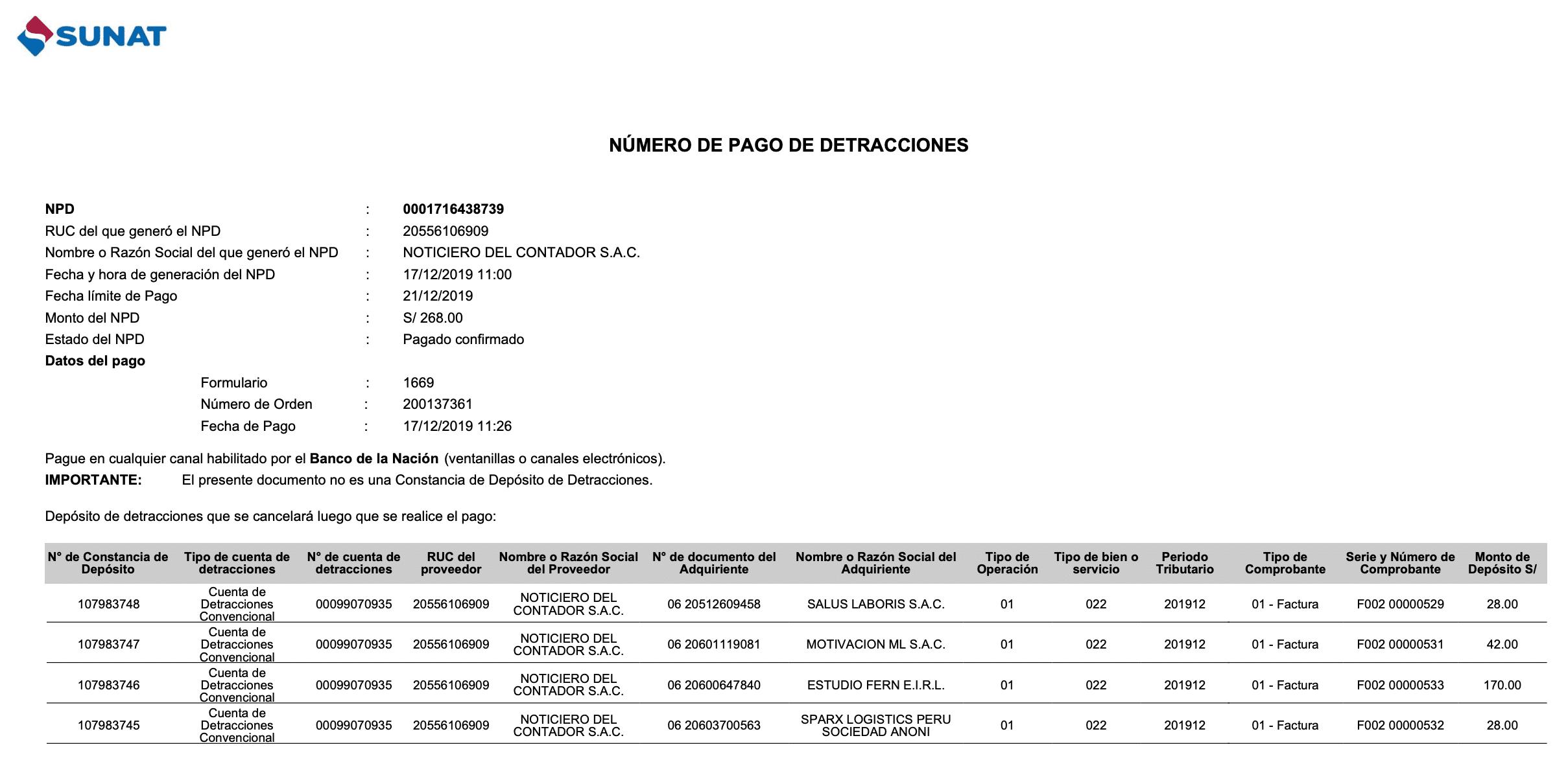 Numero de Pago de Detracciones - SUNAT