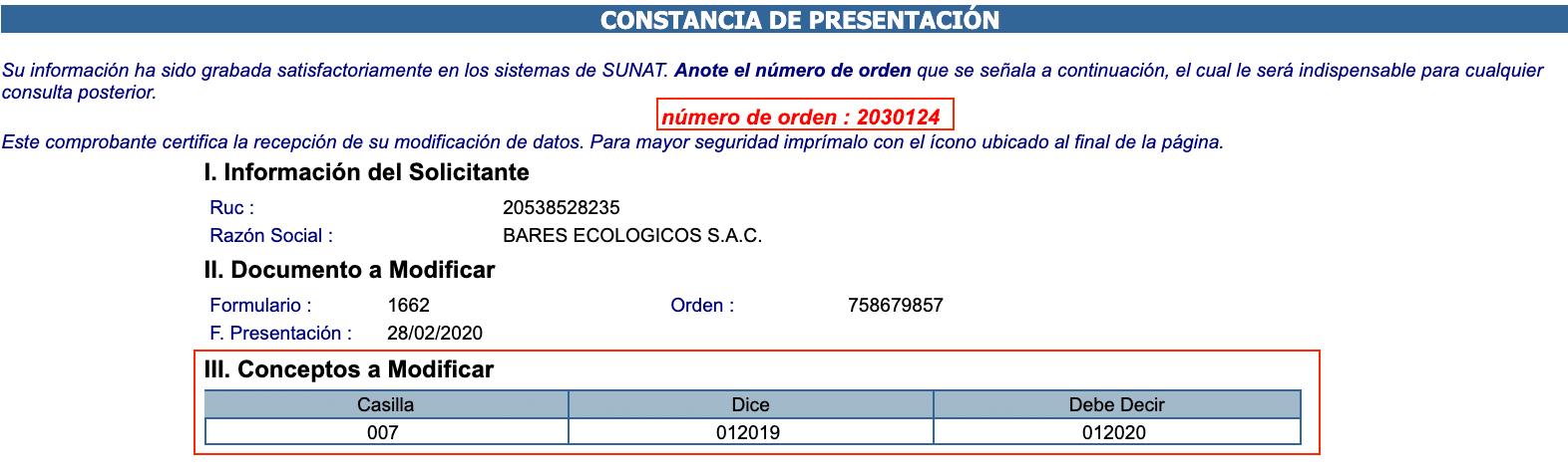 Constancia Llenado Formulario 1693 SUNAT