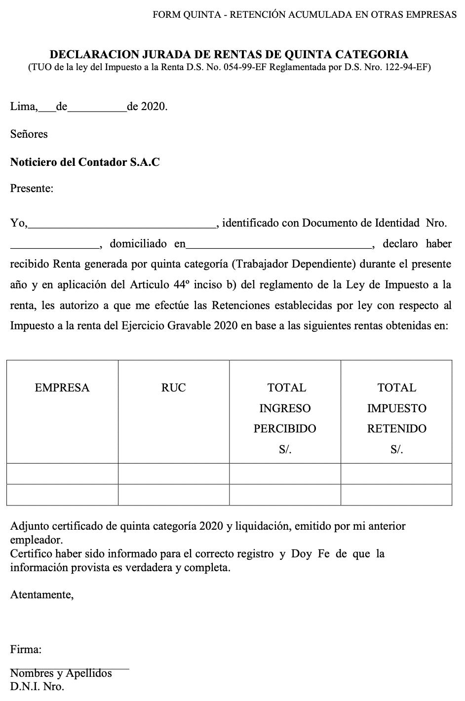 Ingresos Pasados – Unico Empleador