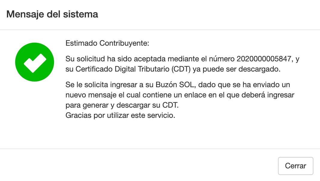 Mensaje Sistema - CDT