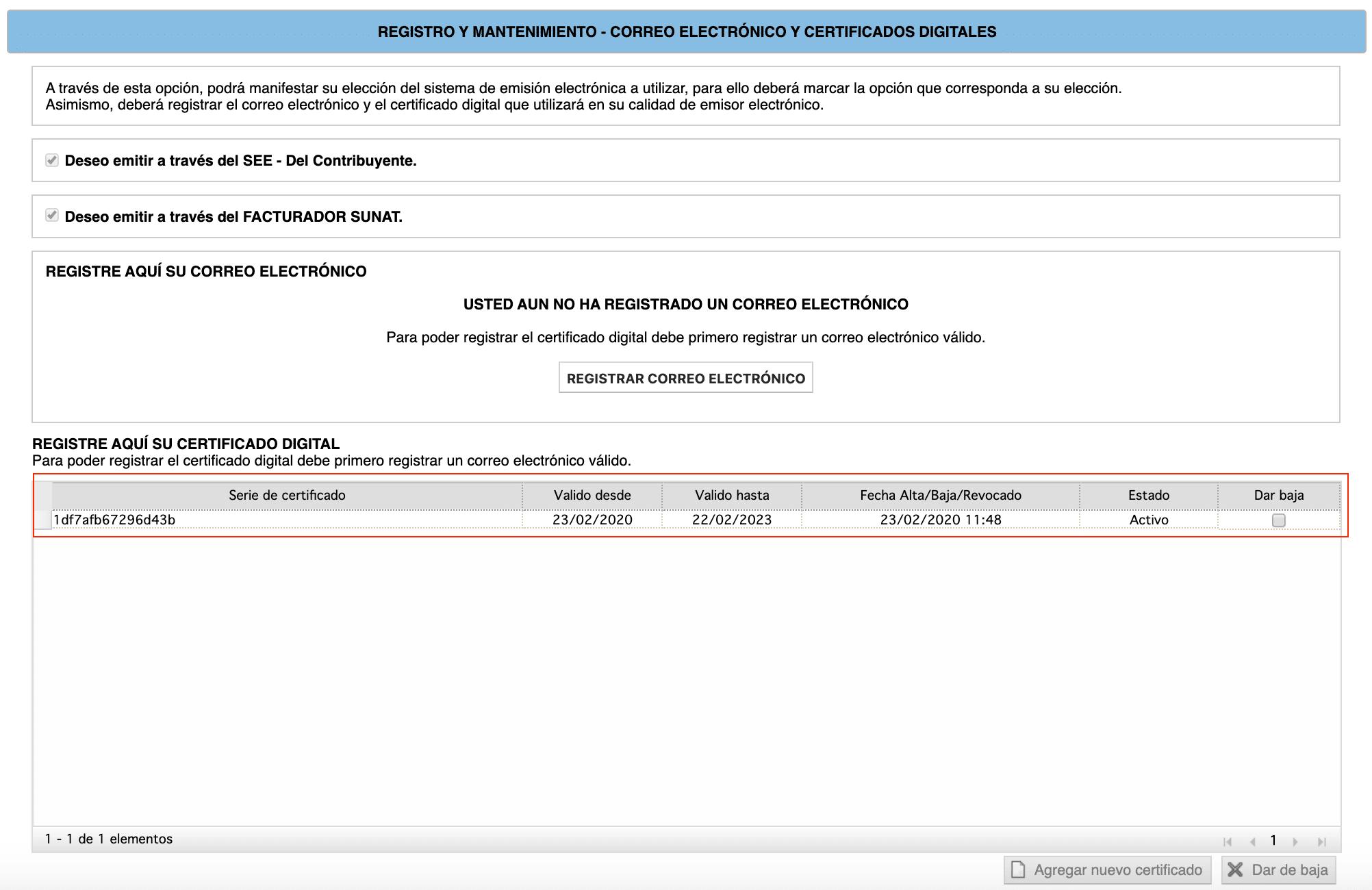 Registro del Certificado Digital