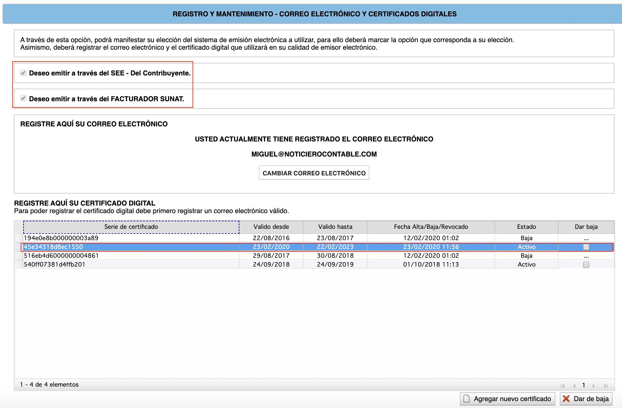 registro de certificados digitales