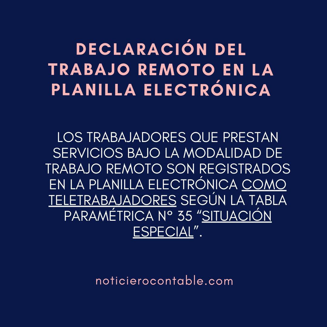 Declaracion del trabajo remoto en la Planilla Electronica