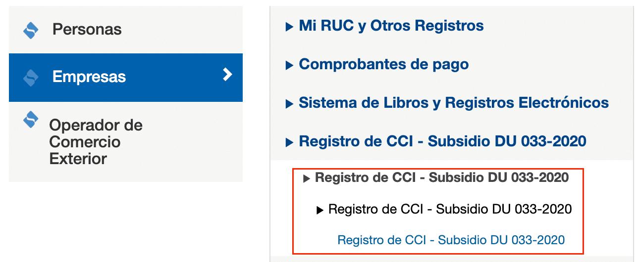 Informar el CCI para el Deposito del Subsidio