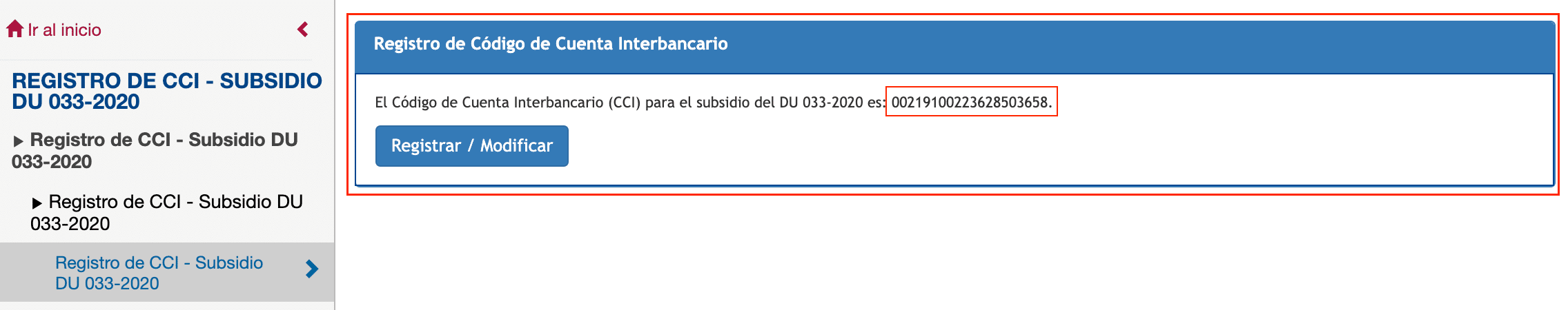 registro de la cuenta del CCI