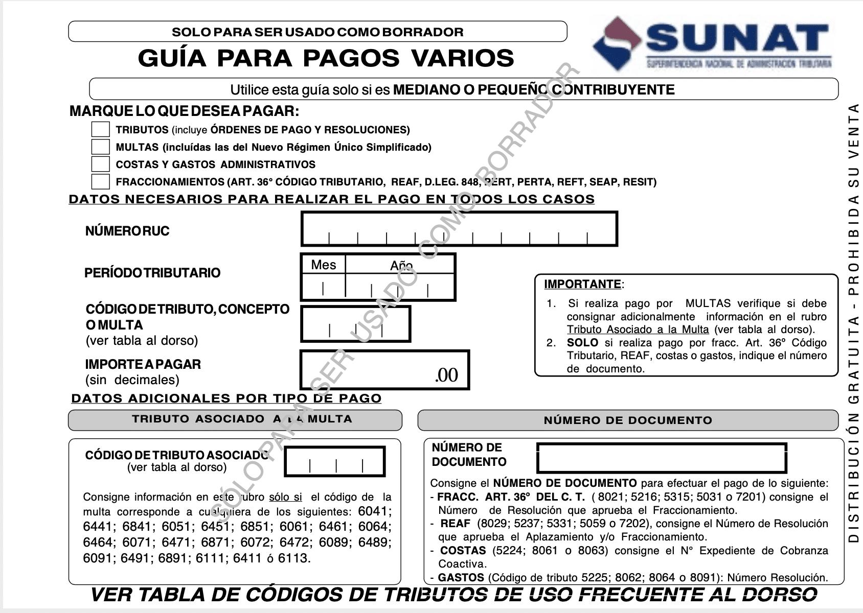Guia pagos varios en PDF