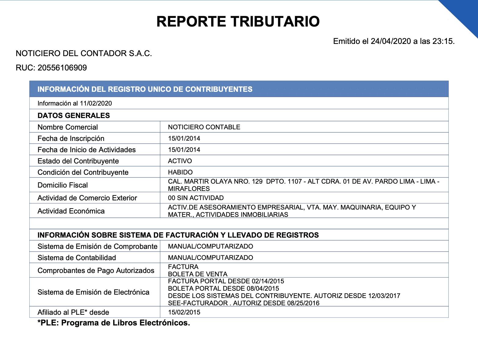 Imprimir Reporte Tributario para Terceros