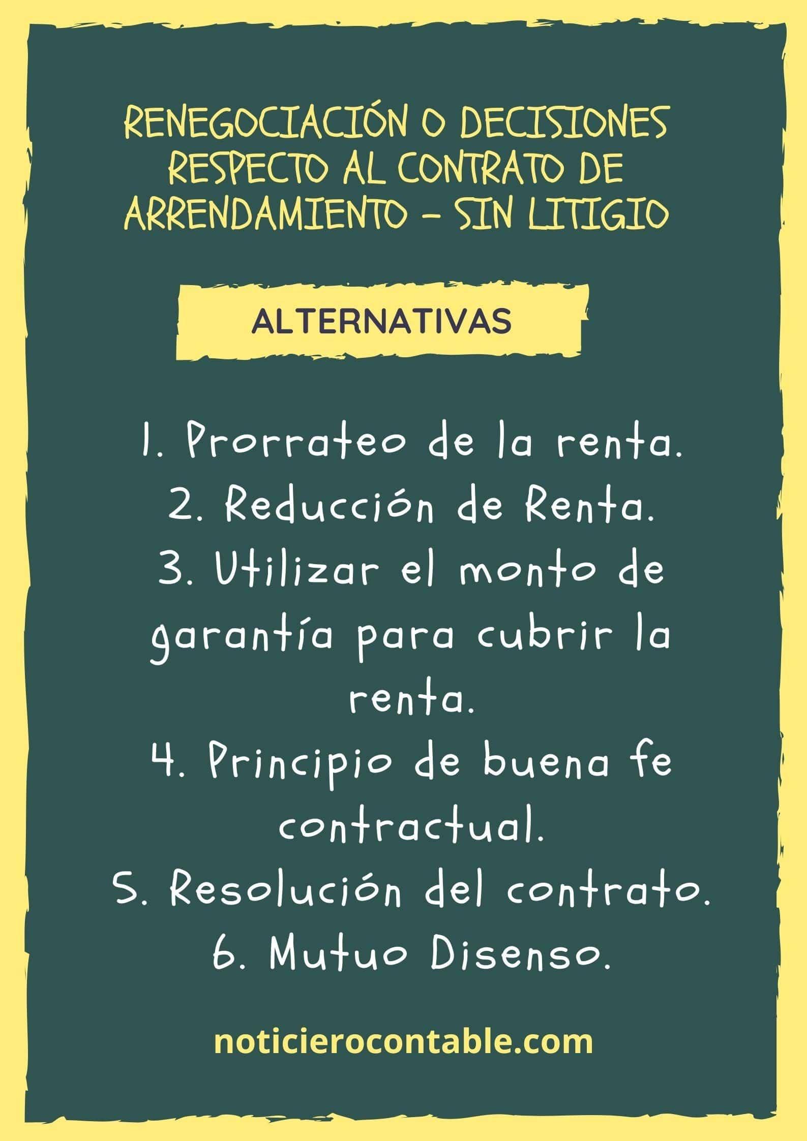 Renegociacion o decisiones respecto al contrato de arrendamiento - Sin Litigio