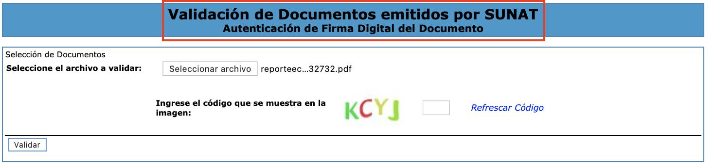 Validacion de Documentos emitidos por SUNAT
