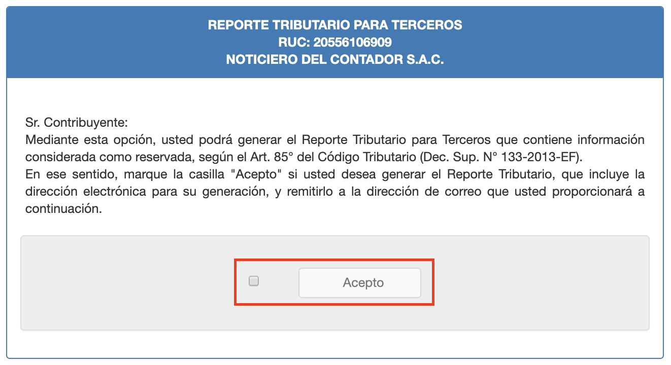 confirmar la emision del reporte tributario