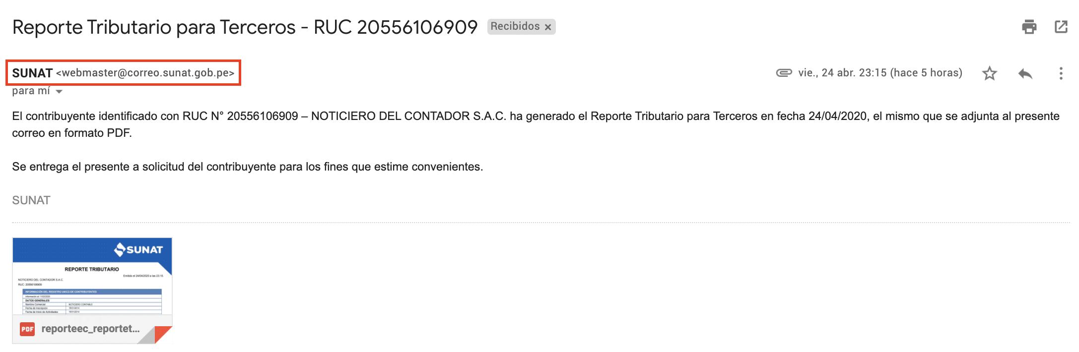 nos llegara un email con el reporte tributario