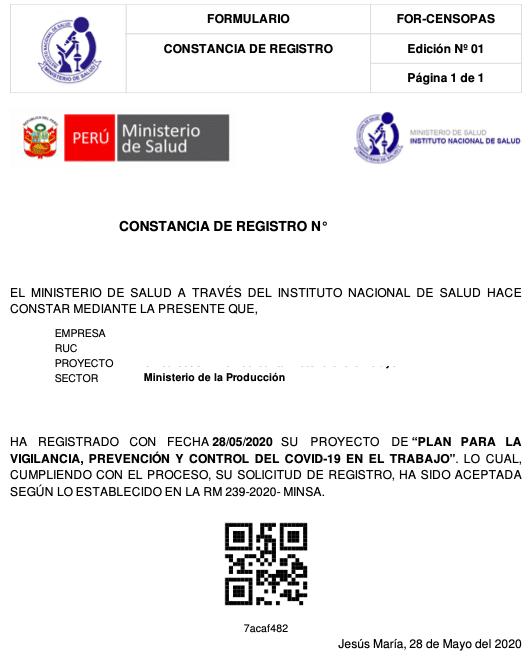 Constancia de Registro SISCOVID-19