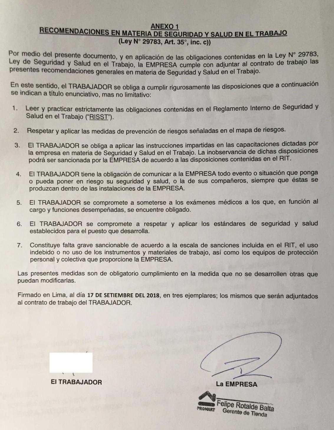 Anexo del contrato de trabajo Promart