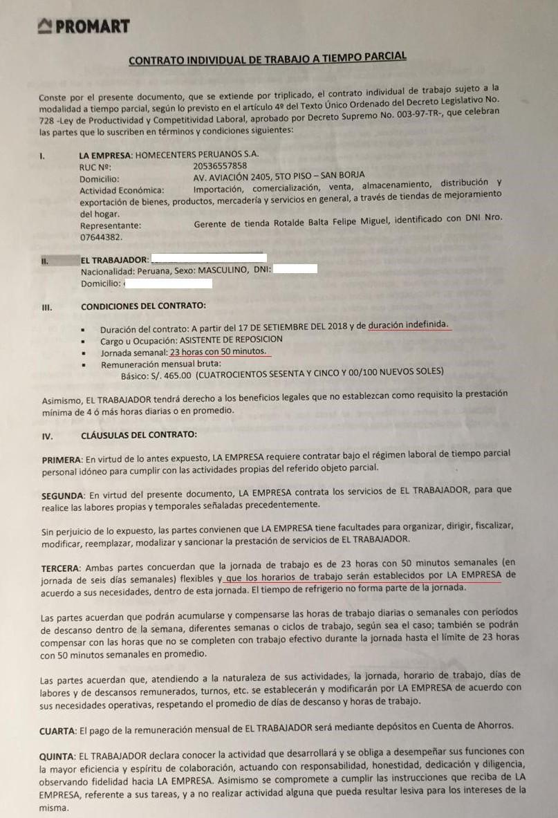 La primera hoja del contrato de trabajo Promart