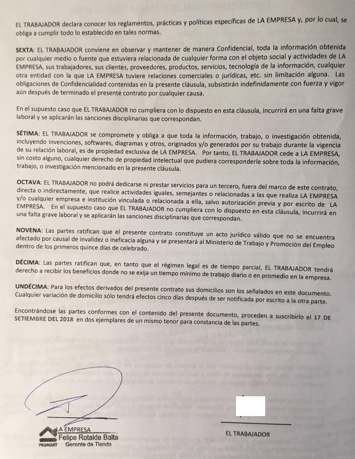 La segunda hoja del contrato de trabajo Promart