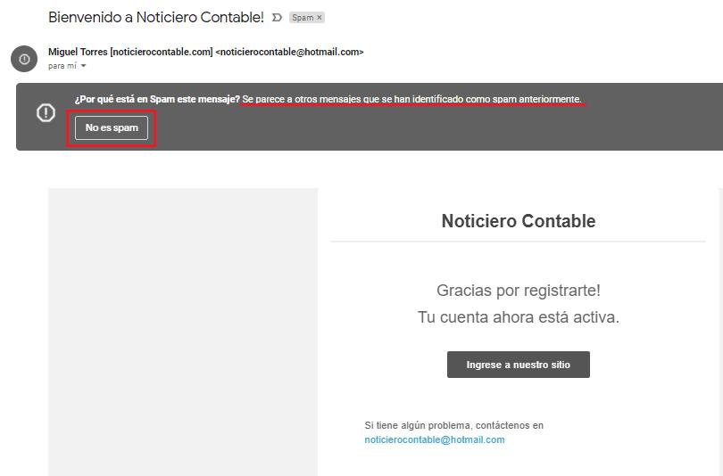 correo de bienvenida Noticiero Contable