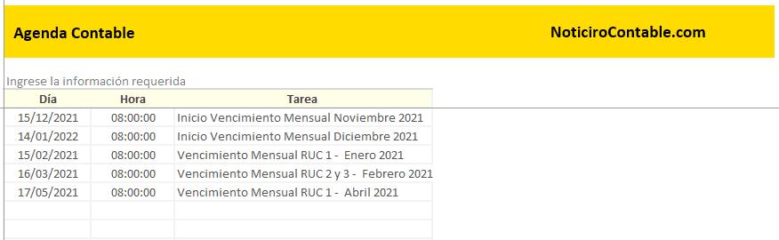 Registro de Tareas - Agenda Excel