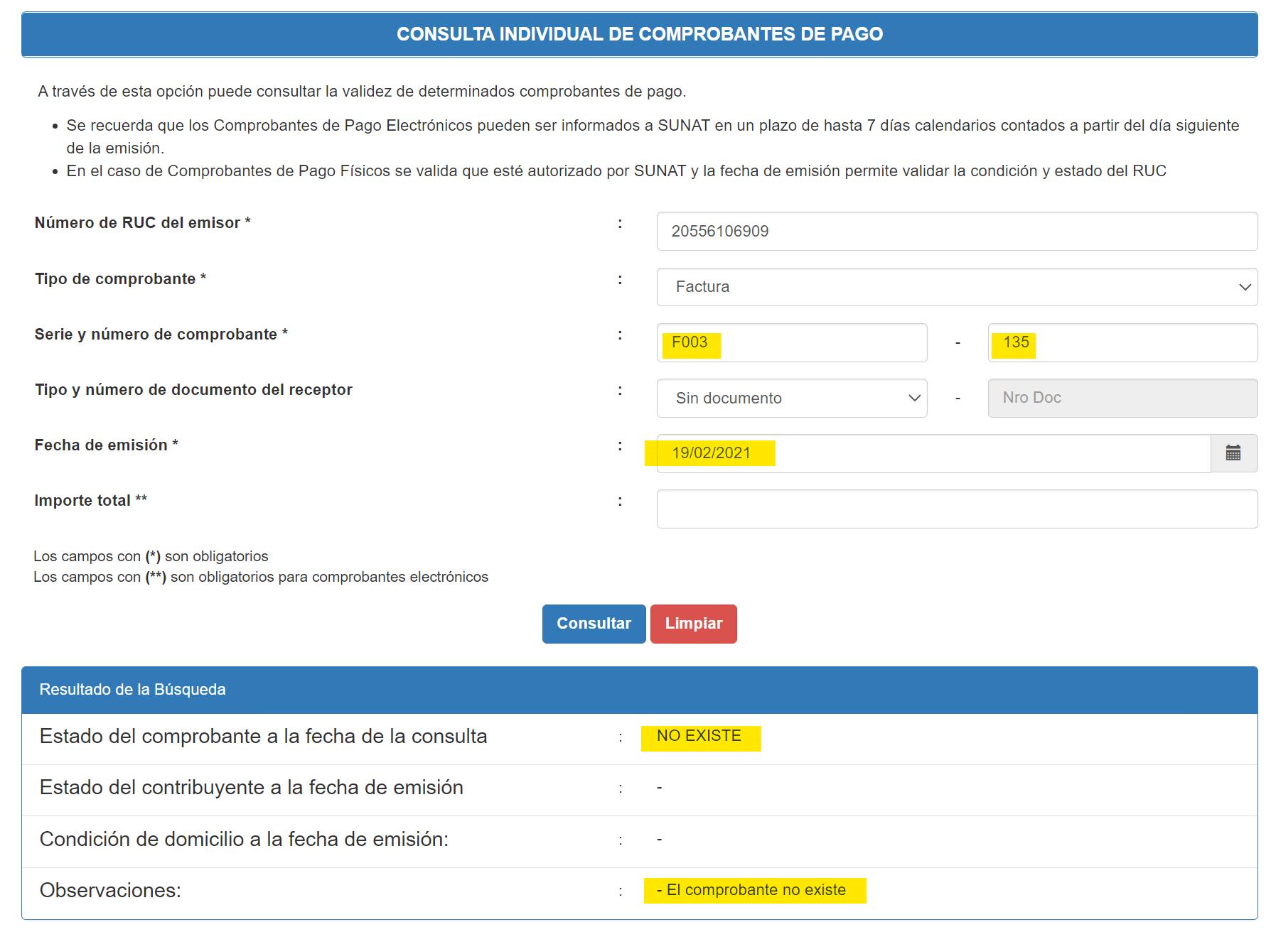Consulta Individual de Compronbantes de Pago