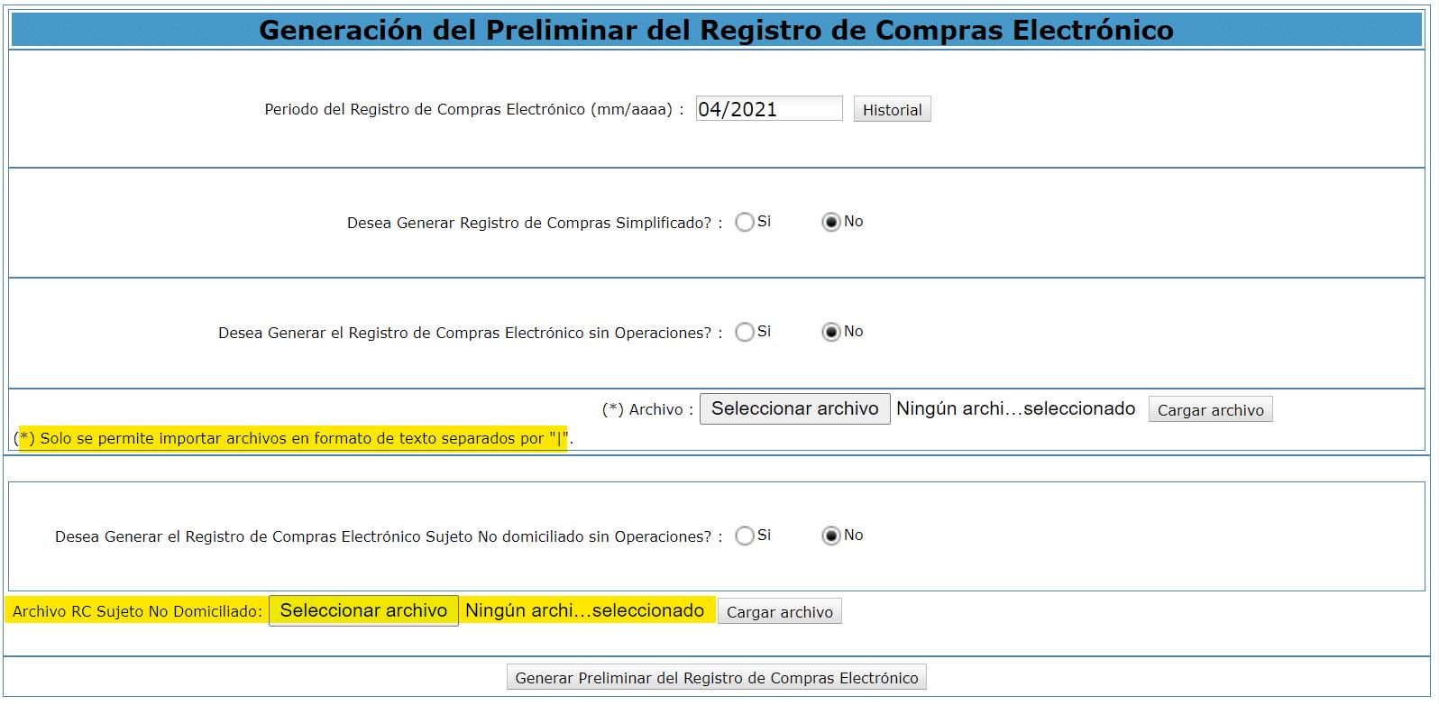 Registro de compras electronico SLE PORTAL