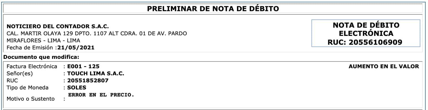 emitir nota de debito